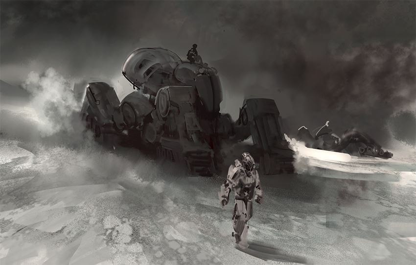 mech in snow by arnaud