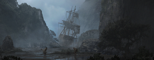Display jumbo approaching wreckage
