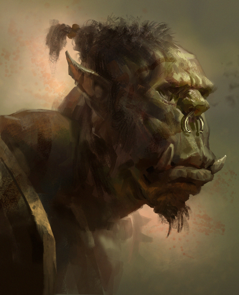 orc head sketch by mike.azevedo