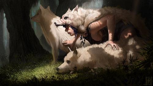 Display jumbo princess wolves