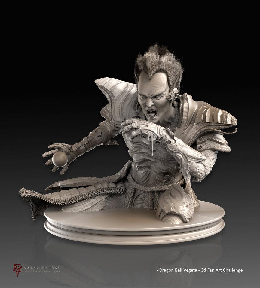 dragon ball vegeta - 3d fan art challenge - sculpt by calebnefzen