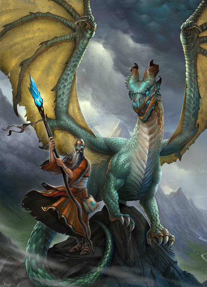 wizard and dragon by firatsolhan