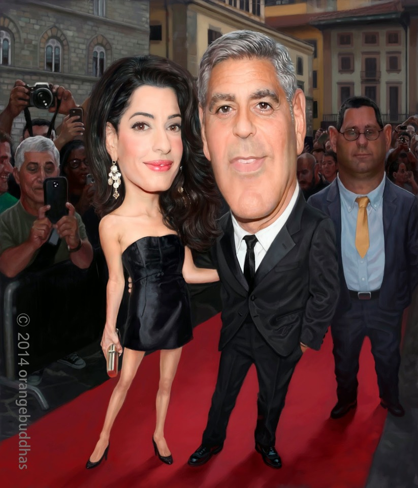 george clooney caricature painting by orangebuddhas