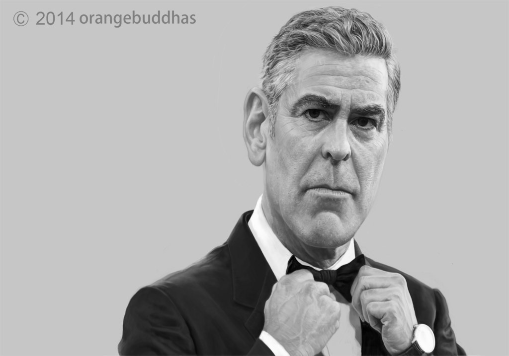 george clooney caricature sketch by orangebuddhas