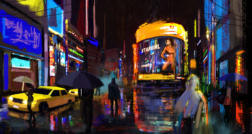 Display jumbo rainy night by atma33