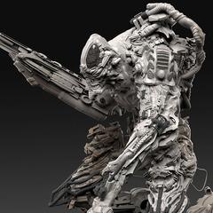 chaotic cyborg sculpt concept 2 by calebnefzen