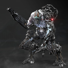 chaotic cyborg concept 3d still by calebnefzen
