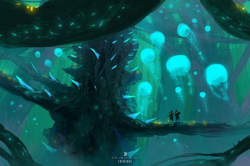 Display jumbo bioluminescent creature