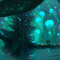 bioluminescent creature by afanur
