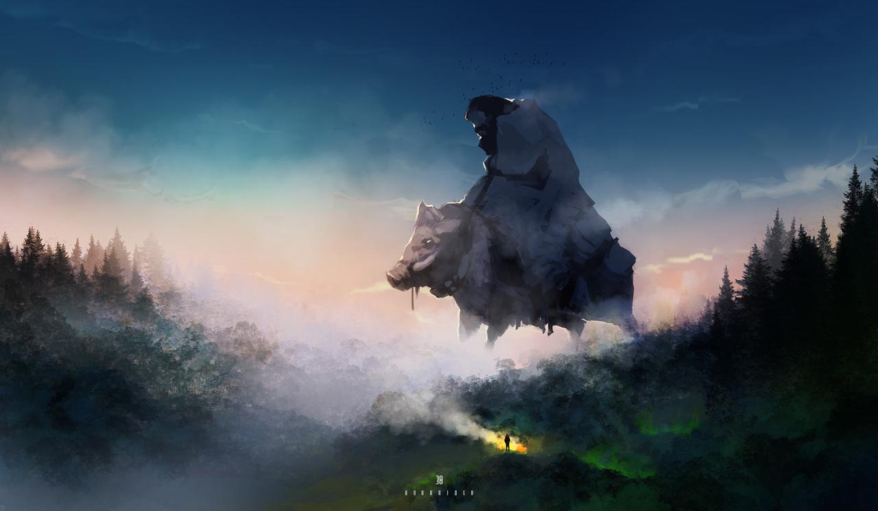 boar rider by afanur