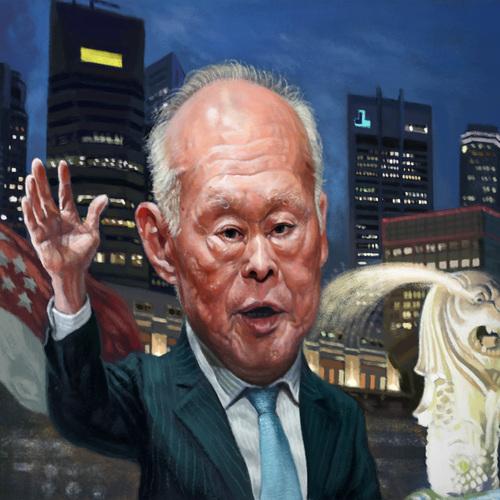 Lee Kuan Yew Caricature by orangebuddhas