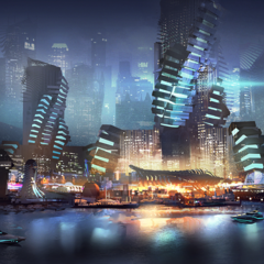 sci-fi harbour by claudiopilia
