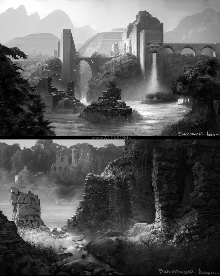 jungle ruins sketches by alexson