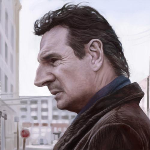 Liam Neeson Caricature by orangebuddhas