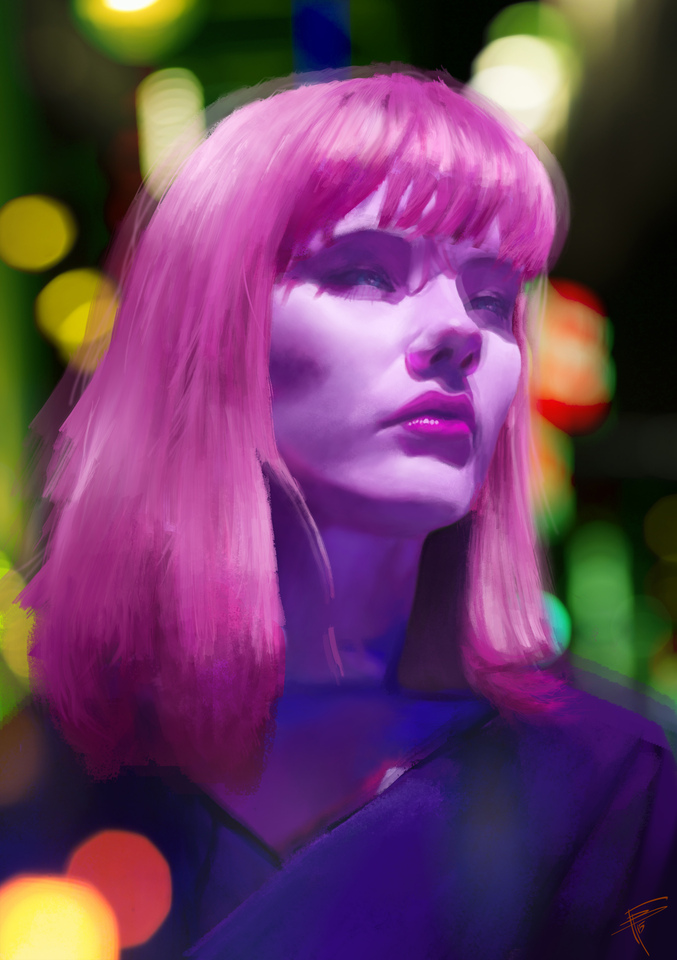 pink hair girl by thomasbignon