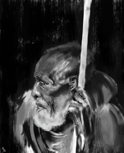Display jumbo old man sketch