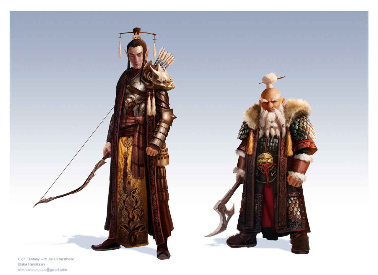 high fantasy concepts with asian aesthetic by pinkhavok