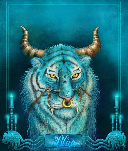 Display jumbo fantasy tiger blue