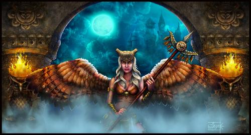 Display jumbo owl girl warrior