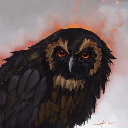 Grumpy Owl by banecrafts