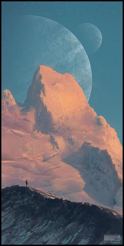 Display jumbo snowy mountain speepainting