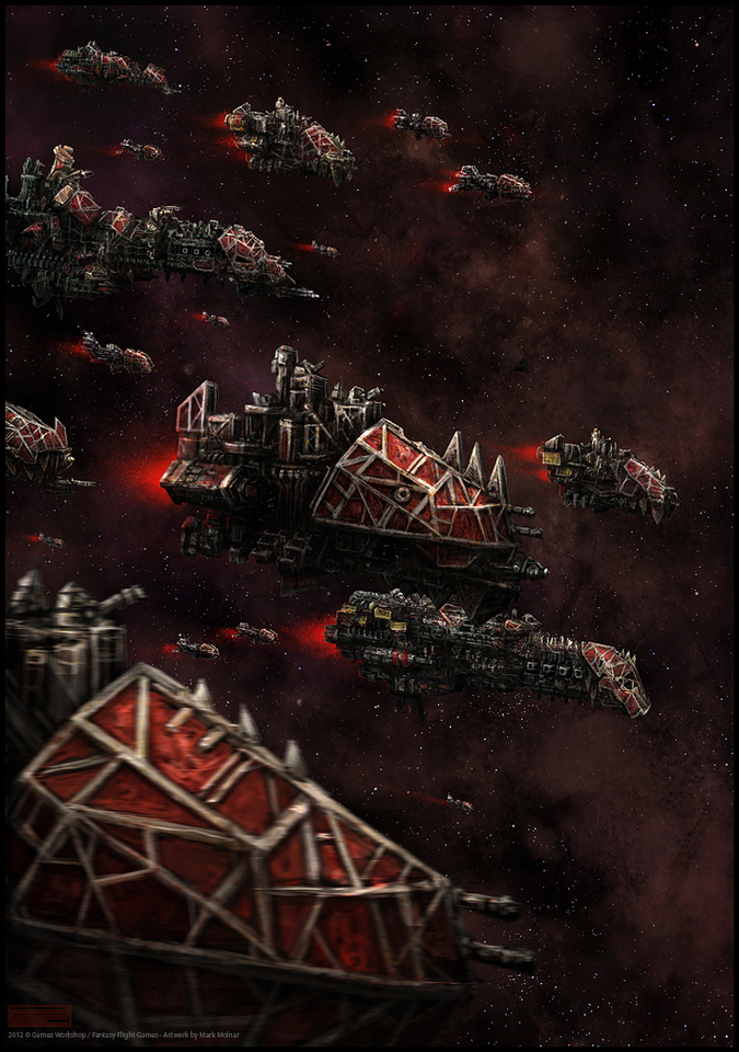 roguetrader orc fleet - warhammer 40k by mark_molnar