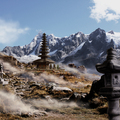 cloudy mountains mattepainting by thepow_fin